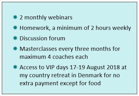 2 monthly webinars, masterclasses, discussion forum, retreat 17-19 August 2018